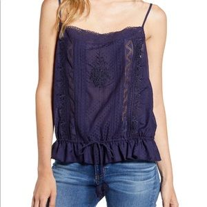 Hinge woven embroidered chemise top